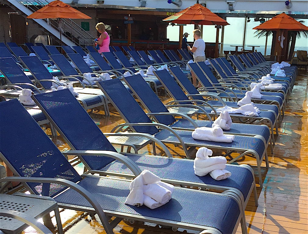 Towel animals lounging on the Carnival Dream's Lido deck catching some rays