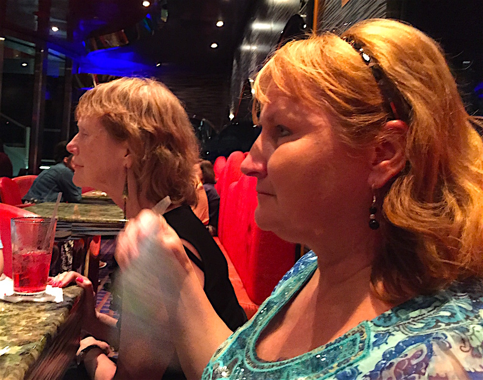 Terrianne & Elaine enjoying some music and drinks on the Carnival Dream
