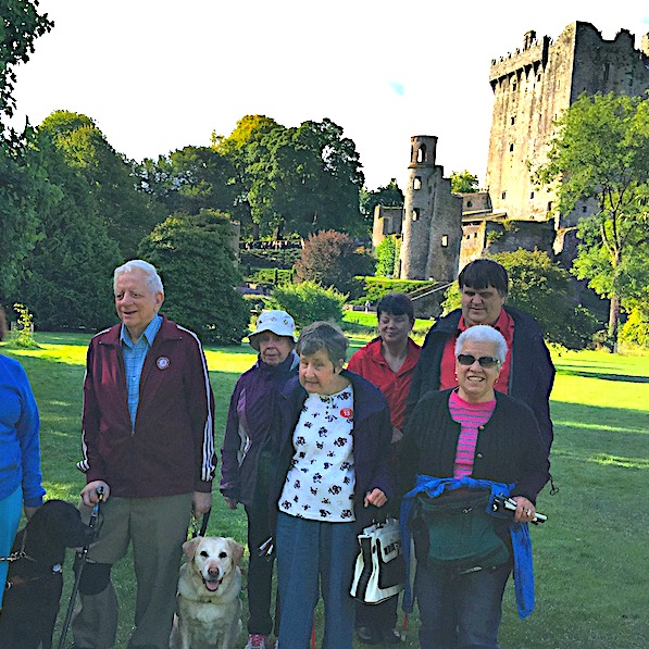 A group of Dave's friends on the grounds of Blarney Castle in Ireland with their guide dogs