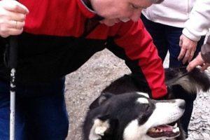 Ed pets an Alaskan husky dog