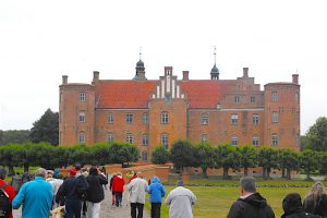 Dave's group walking near a manor house near Aarus, Denmark
