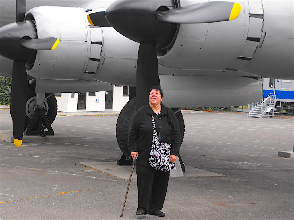 One of Dave's friends standing in front of a World War II fighter aircraft in Berlin, Germany