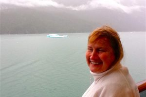 Elaine checks out icebergs and waterfalls on her Carnival Spirit balcony