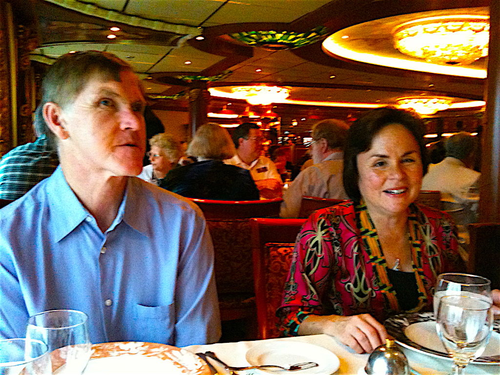 Glen & Donna talking with friends as they await dinner in the main dining room